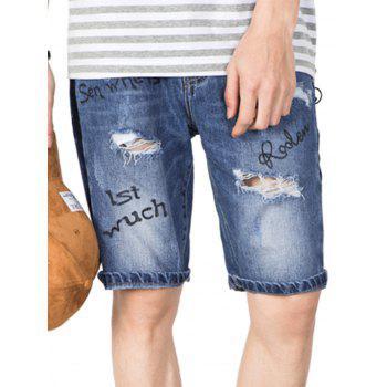 Graphic Print Bleach Wash Ripped Jean Shorts