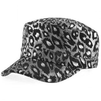Leopard Shimmer Flat Top Military Hat