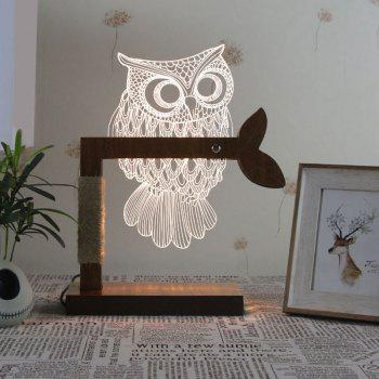 Home Decor 3D Acrylic Owl Wooden Base Desk Lamp