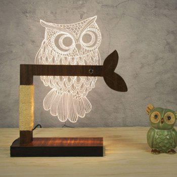 Home Decor 3D Acrylic Owl Wooden Base Desk Lamp - WHITE EU PLUG