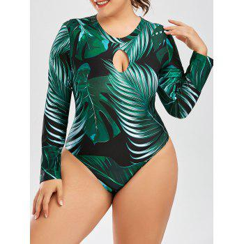 Palm Leaf Print One Piece Plus Size Swimsuit