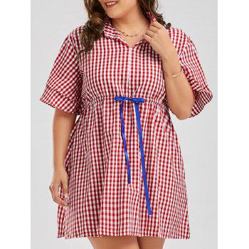 Plus Size Checked Drawstring Smock Shirt Dress