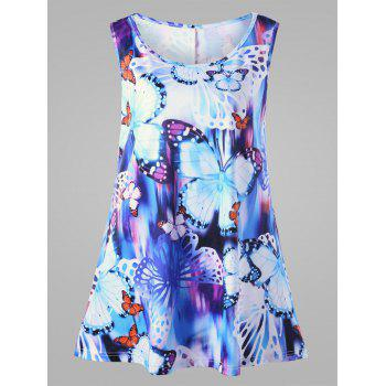 Butterfly Print Plus Size Sleeveless Tunic