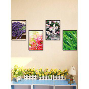 4Pcs/Set Art Floral Removable Stickers For Wall