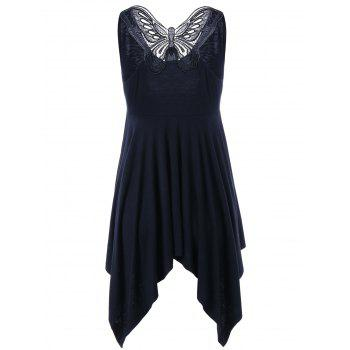 V Neck Butterfly Sleeveless Asymmetrical Dress