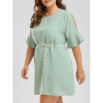 Plus Size Flare Slit Sleeve Chiffon Dress with Belt