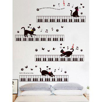 Removable cat piano cartoon wall sticker for kids black for Appliqu mural autocollant