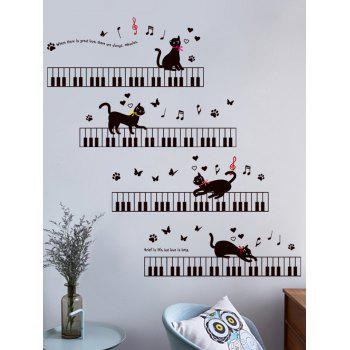 Removable Cat Piano  Cartoon Wall Sticker For Kids