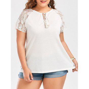 Lace Insert Raglan Sleeve Plus Size T-Shirt