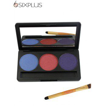 SIXPLUS 3 Colors Mineral Powder Eyeshadow Palette with Brush