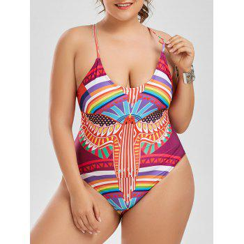Plus Size Printed Lace Up One Piece Swimwear