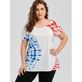 Plus Size Graphic Tie Dye T-shirt - WHITE 4XL