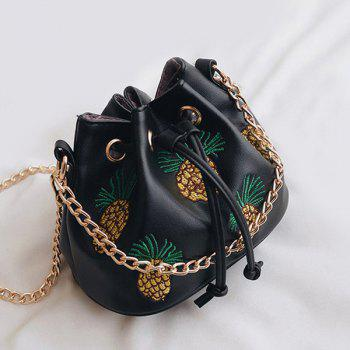 Chain Pineapple Embroidery Bucket Bag