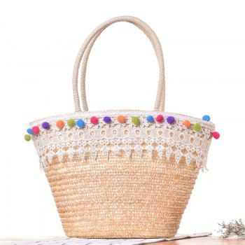 Lace Pom Pom Straw Tote Bag - WHITE WHITE