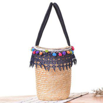 Lace Pom Pom Straw Tote Bag -  BLUE