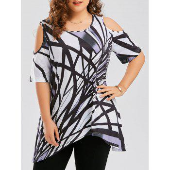 Plus Size Cold Shoulder Geometric Asymmetrical T-shirt
