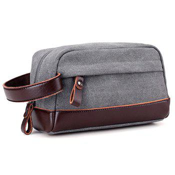 PU Leather Insert Canvas Clutch Bag -  GRAY