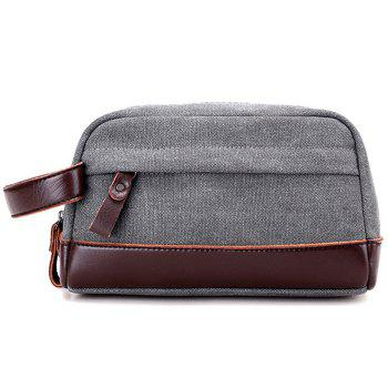 PU Leather Insert Canvas Clutch Bag - GRAY GRAY