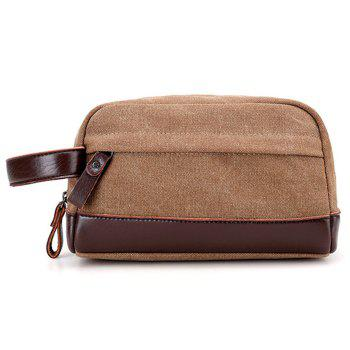 PU Leather Insert Canvas Clutch Bag - BROWN BROWN