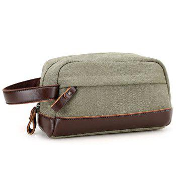PU Leather Insert Canvas Clutch Bag - ARMY GREEN