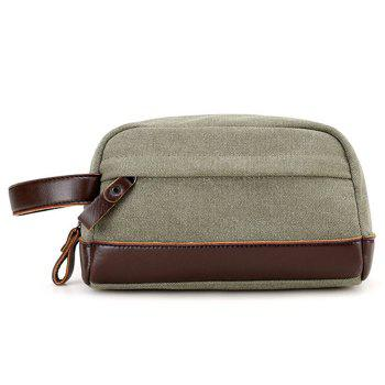PU Leather Insert Canvas Clutch Bag - ARMY GREEN ARMY GREEN