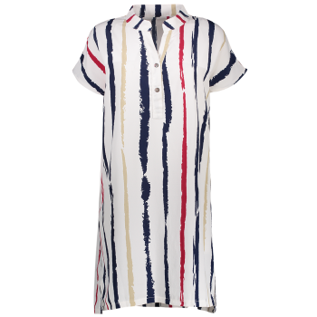Plus Size Tie Dye Stripe Fitted Tunic Shirt Dress - WHITE WHITE