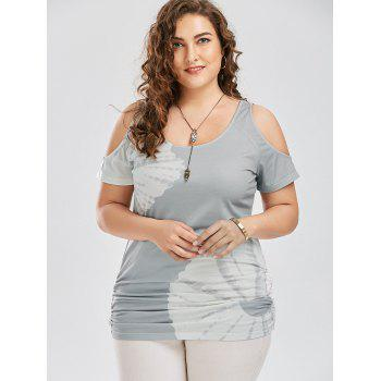 Plus Size Cold Shoulder Printed Top - GRAY GRAY