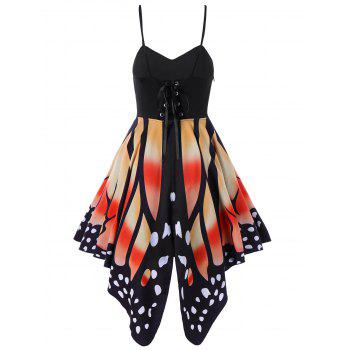 Butterfly Print Lace Up Slip Dress