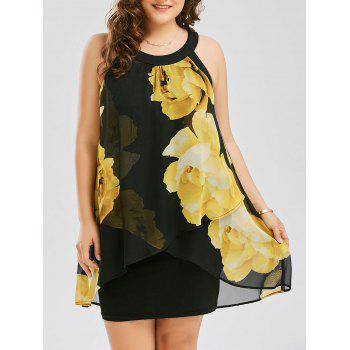 Plus Size Floral Print Overlay Sheath Dress