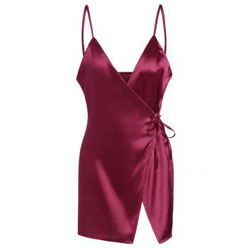 Spaghetti Strap Satin Wrap Dress - WINE RED L