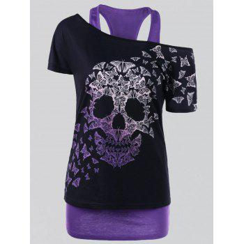 Plus Size Butterfly Skull T-shirt with Tank Top