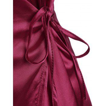 Spaghetti Strap Satin Wrap Dress - WINE RED WINE RED