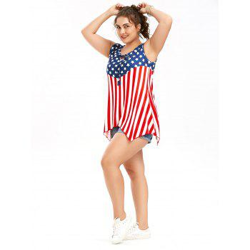 American Flag Patriotic Sleeveless Plus Size T-Shirt - COLORMIX XL
