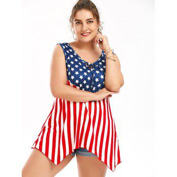 American Flag Patriotic Sleeveless Plus Size T-Shirt - COLORMIX 2XL