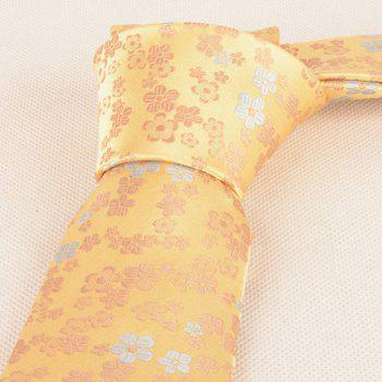 Jacquard Tiny Flowers Neck Tie -  YELLOW
