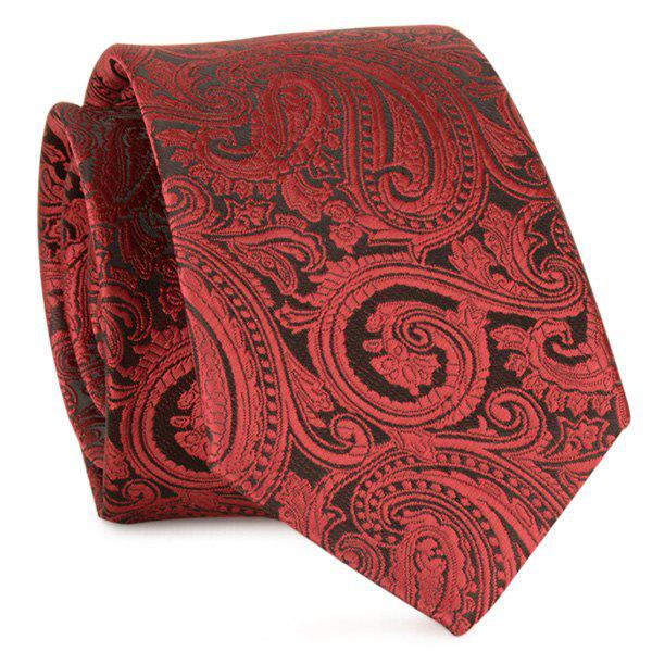 Paisley Anthemia Jacquard Neck Tie - WINE RED