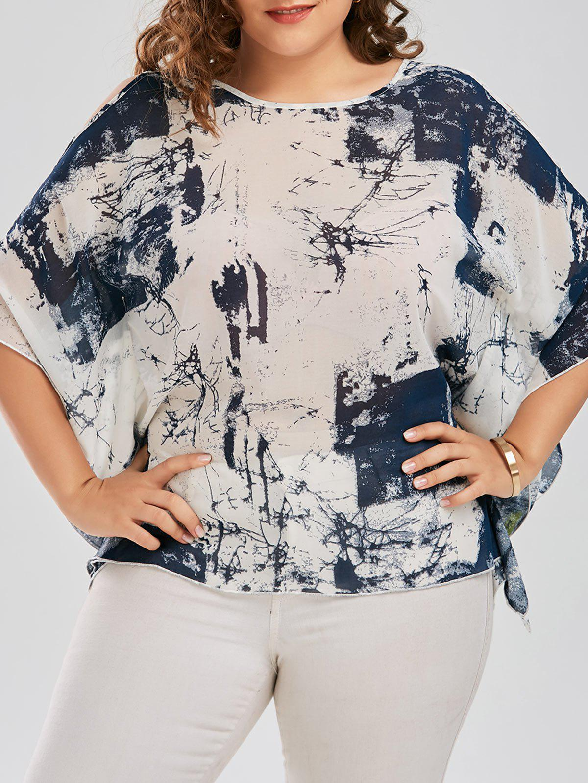 Plus Size Abstract Print Cold Shoulder Top plus size cold shoulder butterfly print top