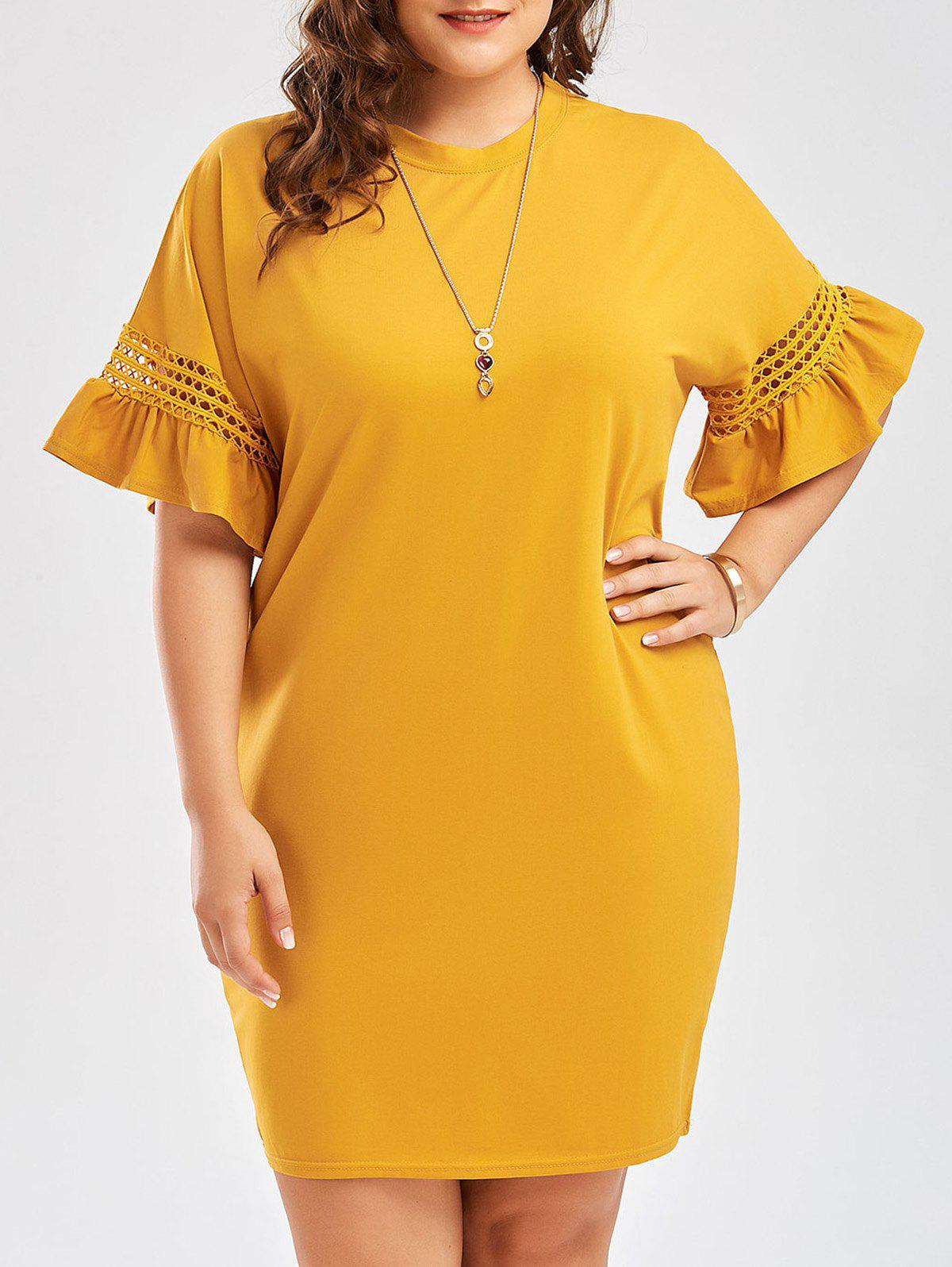 Plus Size Flare Sleeve Cutout Cocoon Tee Dress long sleeve plus size cocoon dress