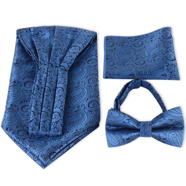 Paisley Jacquard Ascot Tie Bowtie and Handkerchief - Royal