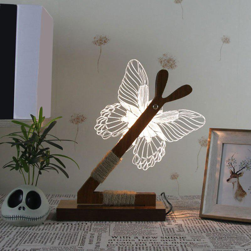 3D Stereoscopic Butterfly LED Desk Lamp creative solid wood desk lamp for 3d stereoscopic vision