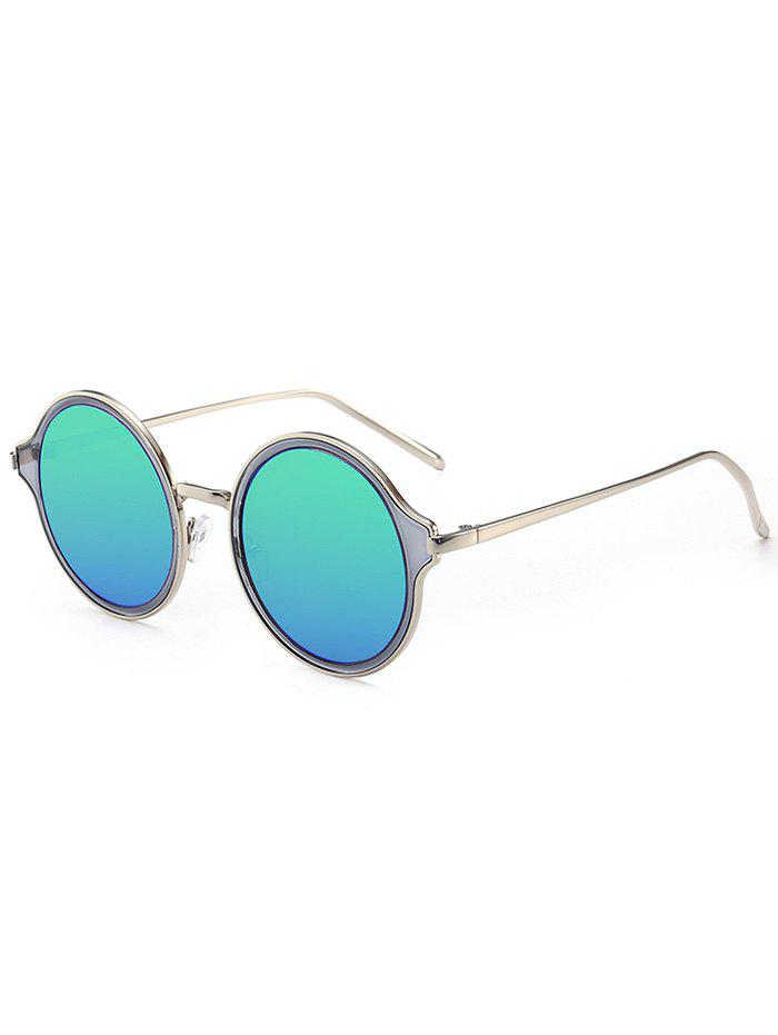 Metal Frame Vintage Round Mirrored Sunglasses vintage round frame english letters cute sunglasses fashion and personality cross my heart