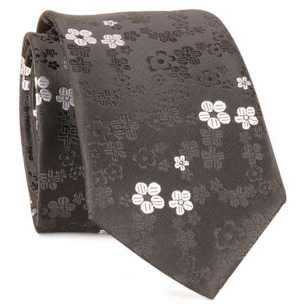 Jacquard Tiny Flowers Neck Tie - FULL BLACK