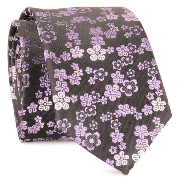 Jacquard Tiny Flowers Neck Tie - Pourpre