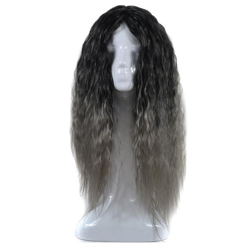 Lolita Long Center Part Colormix Corn Hot Curly Cosplay Synthetic Wig shipping hot new black white long curly cosplay full wig two pigtails