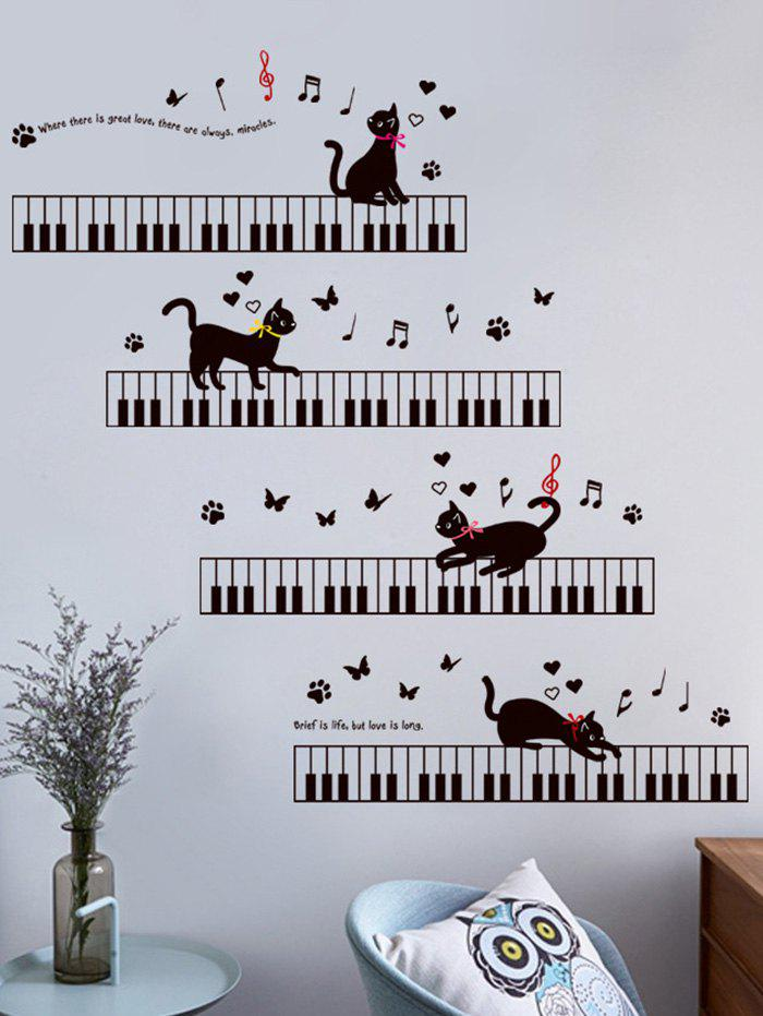 Removable Cat Piano Cartoon Wall Sticker For Kids 214686001