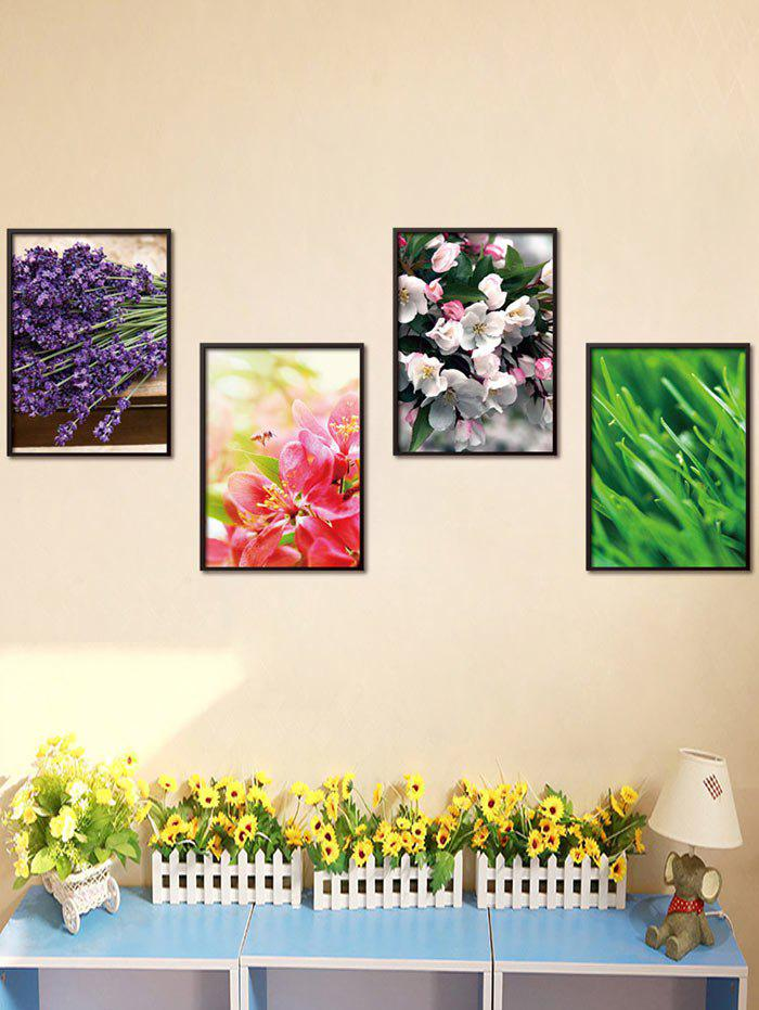 4Pcs / Set Art Floral Stickers amovibles pour mur - multicolore 50*70CM