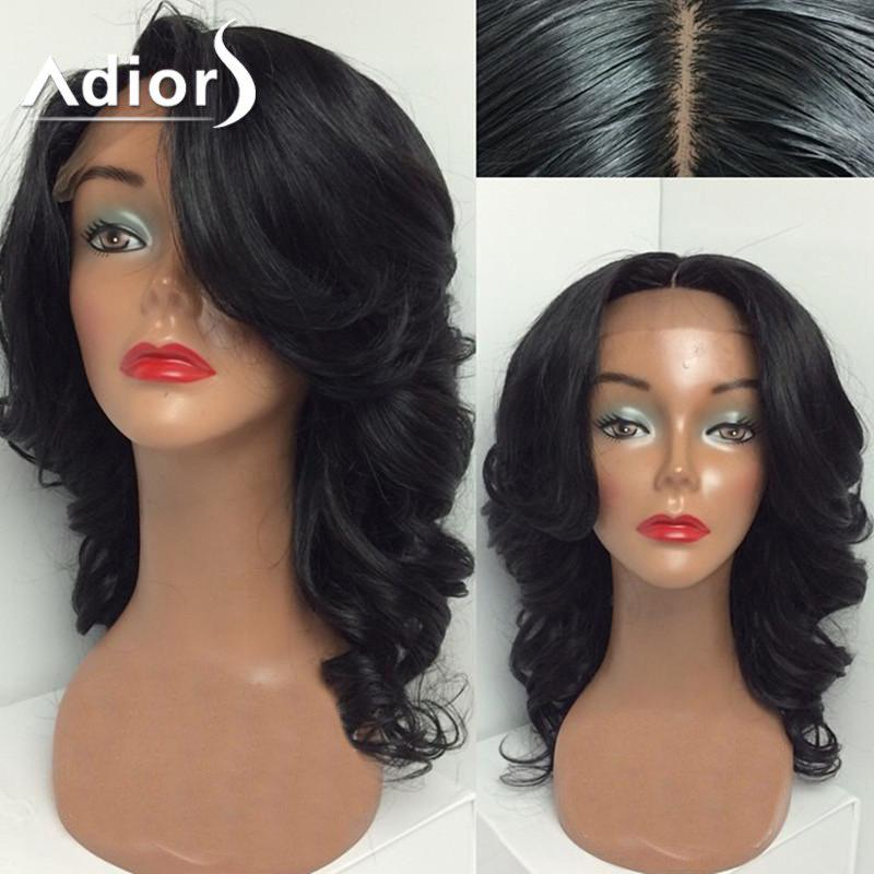 Adiors Dyed Perm Free Part Medium Wavy Lace Front Synthetic Wig - B 18INCH