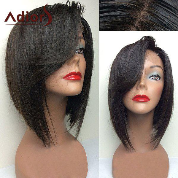 Adiors Swept Side Bang Straight Short Bob Lace Front Synthetic Wig tsnomore black to blue synthetic lace front bob wig