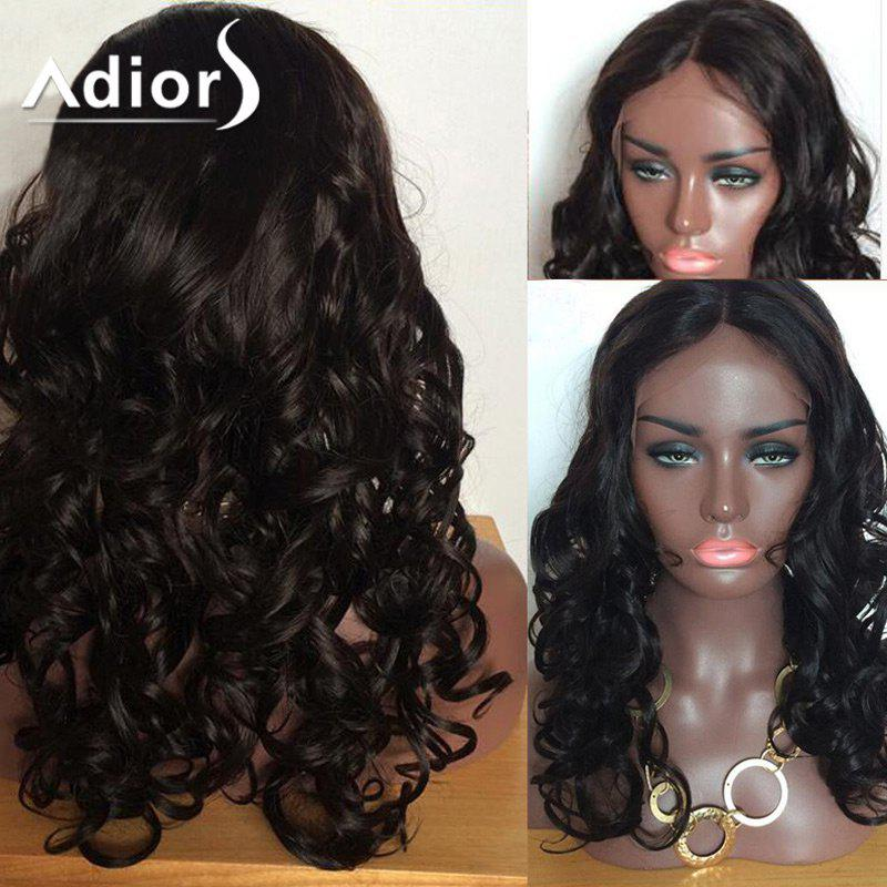 Adiors Long Shaggy Body Wave Center Part Lace Front Synthetic Wig 2016 top selling synthetic wig natural looking free part black body wave synthetic lace front wig for african american