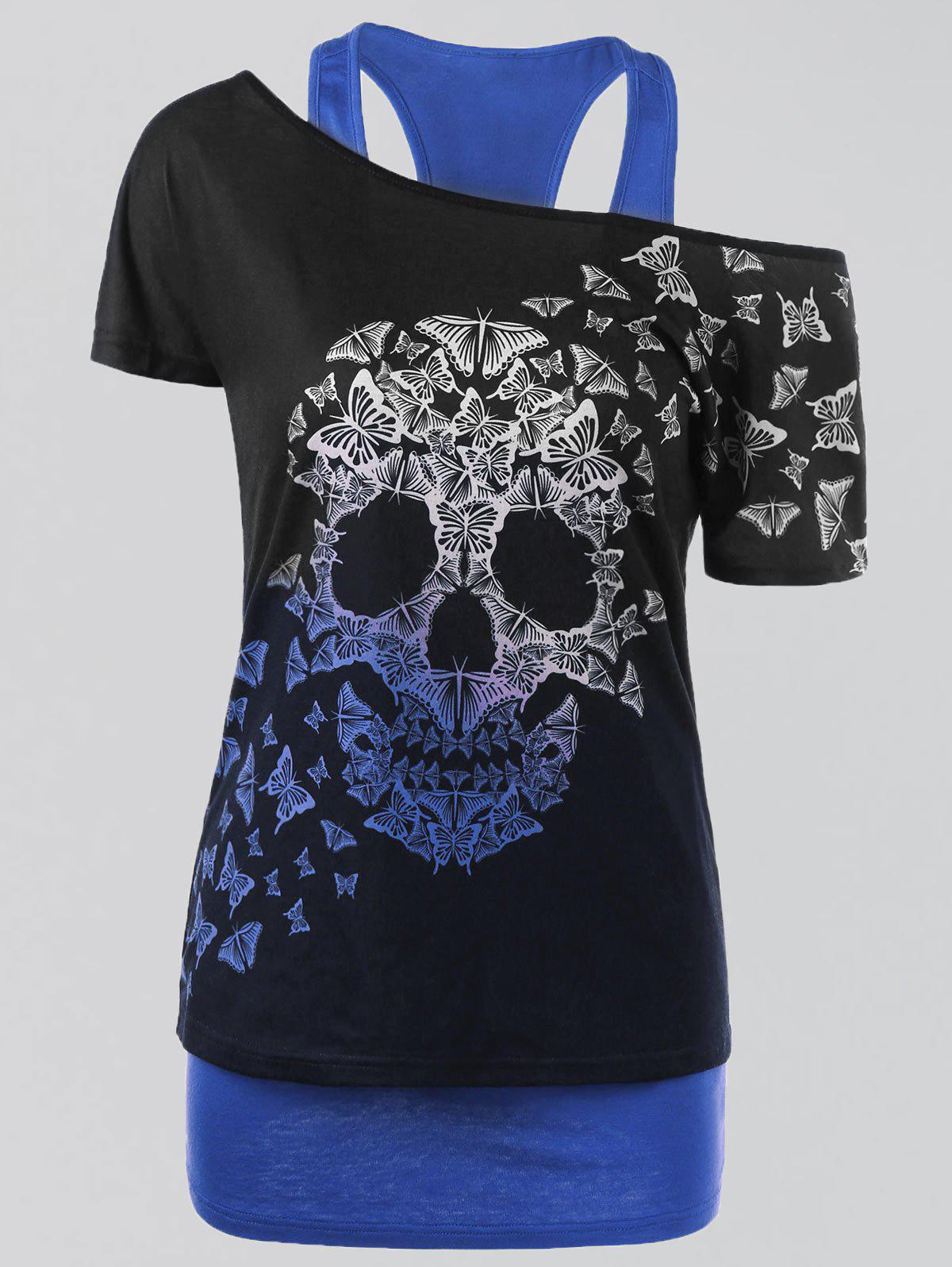 Plus Size Butterfly Skull T-shirt with Tank Top skull print plus size ruched tank top